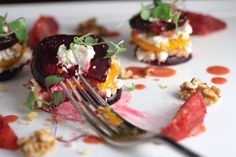warm beet salad with goat cheese, orange, and micro greens from betterwithbutter.com