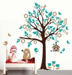 """Adesivo murale Wall Sticker per bambini """"Albero con casetta degli uccellini"""" - Misure 119x150 cm - Decorazione parete, adesivi per muro: Amazon.it: Casa e cucina"""