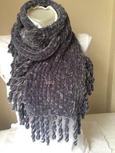 Knitted Scarf in Grey Grey ScarfWinter by Yellowcrochet on Etsy