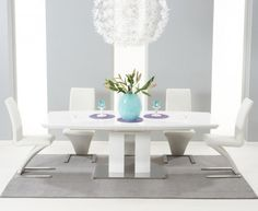 buy the ex display richmond 180cm white high gloss extending dining table with 6 red - White Gloss Kitchen Table