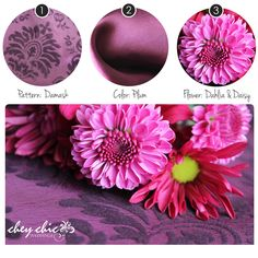 Rich plum colored damask print and silky satin linens with sweet daisies and dahlias for your chic wedding. --Chey Chic Weddings