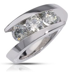 3 stone bypass ring design  -- but I'd use sapphires instead of clear stones and white gold