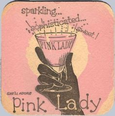 "Pink •~• vintage ""pink lady"" drink coaster"