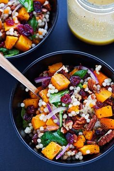 This pearl couscous salad is the epitome of Autumn! Loaded with roasted butternut squash chunks, tons of sweet cranberries, nutty pecans, all tossed with Israeli couscous, and a dijon vinaigrette.