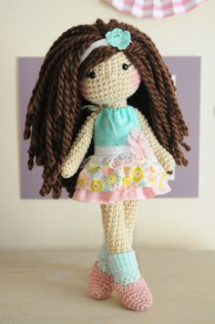 Latina crochet doll. I love how her dress came out :) //amigurumi, crochet doll, soft doll, plush doll, handmade doll