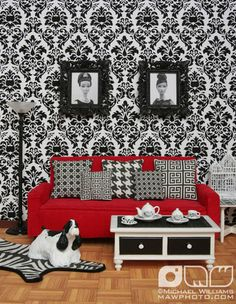 I thought they were old hollywood actresses lol. WEIRD Black & White Living Room by MyLifeInPlastic.com, via Flickr