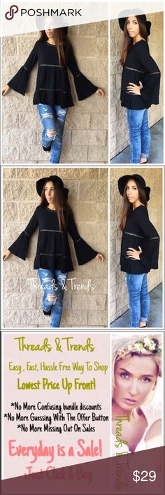 """Boho Bell Sleeve Top Trendy bohemian style shirt featuring bell sleeves. Crotchet cut out detailing. Made of cotton and spandex. Available in black. Sizes S, M.                                                                                  Small Bust 34"""" Length 25""""  Medium Bust 38"""" Length 25"""" black lace Tops Blouses"""