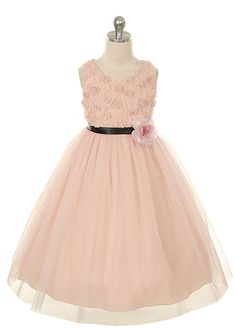 Dusty Pink Lovely Floral Embroidery Girl Dress