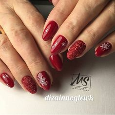 132 eye catching nail design ideas perfect for winter - page 16 > Homemytri. Christmas Gel Nails, Christmas Nail Designs, Holiday Nails, New Year's Nails, Love Nails, Red Nails, Pastel Nails, Bling Nails, Shellac Nails