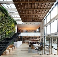natural light, plants, big windows, wood and iron