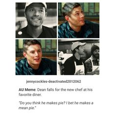 supernatural destiel au tumblr textpost dean winchester and castiel
