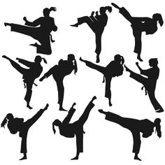 Karate Girl Silhouette Cuttable Designs