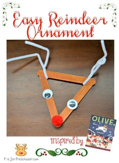 Cute and easy reindeer ornament inspired by Olive, the Other Reindeer story