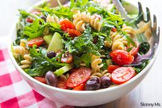 Easy Pasta Salad with Cucumbers & Tomatoes - Skinny Ms.