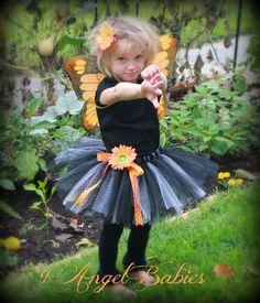 Monarch Butterfly Tutu Girls Halloween Costume Orange, Pink, Purple or Hot Pink