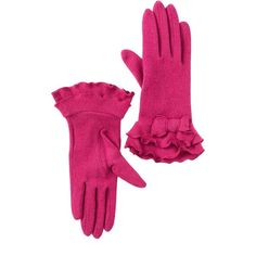 Vincent Pradier Ruffle Bow Gloves ($11) ❤ liked on Polyvore featuring accessories, gloves, fuchsia, ruffle gloves, bow gloves, wool gloves and woolen gloves