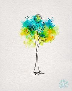 This is for a friend who's wife is going to have surgery tomorrow - we are all praying for the best outcome and hopefully the bright colors… Watercolor And Ink, Watercolor Flowers, Watercolor Paintings For Beginners, Bff Drawings, Art Carte, Buch Design, Happy Paintings, Alcohol Ink Art, Inspiration Art