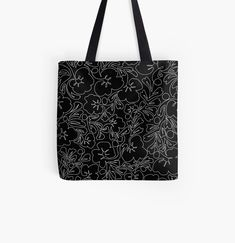 Large Bags, Small Bags, Cotton Tote Bags, Reusable Tote Bags, Continuous Line Drawing, Designer Totes, Running Late, Black Tote Bag, Violets