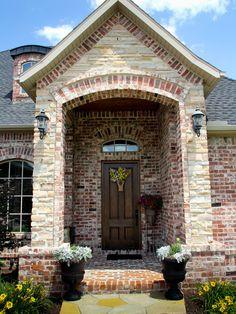 Brick And Stone Exterior Cladding Design Stone Exterior Houses, Exterior House Colors, Stone Houses, Exterior Design, Rustic Brick House Exterior, Brick Exteriors, Building Exterior, Brick House Designs, Brick Design