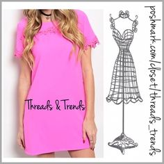 Hot Pink Shift Dress Love this vibrant color pink shift dress with key hole closure and crochet lace detail bodice. Made of a high quality cotton/poly blend. Non shear. Size S, M, L Threads & Trends Dresses
