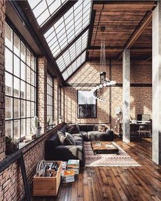 I love loft design and will do a lot in my future as an architect . - Garden decoration - I love loft design and will do a lot in my future as an architect … - Industrial Interior Design, Industrial Interiors, Industrial Living, Home Interior Design, Interior Lighting, Room Interior, Industrial Loft Apartment, Modern Industrial, Industrial Stairs