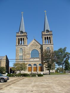 Sacred Heart of Jesus Catholic Church (Cullman, Al.) Built 1913  Twin Steeples and Front View of Beautiful Church  Cullman founded by German Immigrants and has a large Catholic population