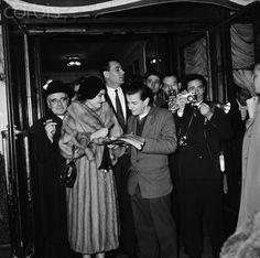 Singer Maria Callas Greeting Fans in Paris