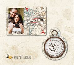 DESTINATION WEDDING Save the Date - Map & Compass Travel Theme Save the Date with Engagement Photo - 2 Piece Set - Printable Digital Files