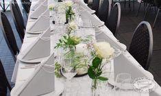 borddækning bryllup sølv hvid