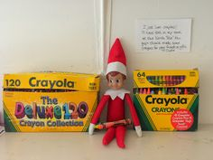 Elf on the Shelf. Day 19: Kristin-más: Making crayons for neighbor gifts