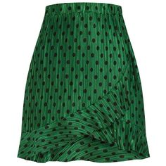 Green Plisse Polka Dot Frill Wrap Mini Skirt (94 RON) ❤ liked on Polyvore featuring skirts, mini skirts, wrap skirt, green skirt, frill skirt, short mini skirts and green wrap skirt