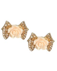 Perfect Bow Button Earring - Teen Clothing by Wet Seal