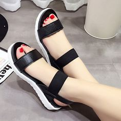 74fe4884248a9a New tide shoes one word type strap shoes waterproof Taiwan ribbon stripe to  ultra-high yards peep-toe large Roman sandals