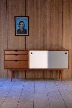 this white and grey fifties sideboard is design by lebannon designer inspired by danish design.