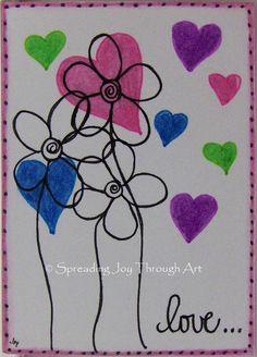 ACEO Original Art Joy Valentine Love Heart Flower Purple Pink Green Blue Special #Miniature