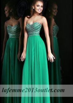 2014 Emerald Chiffon Sparkly Top Long Prom Dresses
