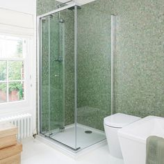 Green iridescent mosaic-tiled shower | Modern bathrooms | Ideal Home | Housetohome.co.uk