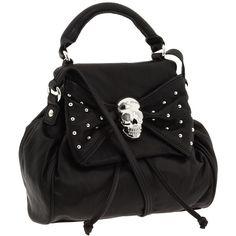 Betsey Johnson Punk Rock Skull Small Satchel Black - Zappos.com Free... ($258) ❤ liked on Polyvore featuring bags, handbags, satchel purse, black satchel bag, betsey johnson satchel, satchel handbags and betsey johnson purses