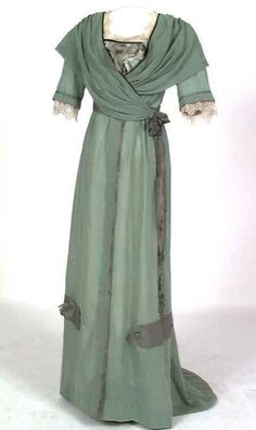Dress  - about1910.  look at that wraparound bodice style, this is so lovely. I even like the color.