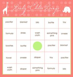 Free Downloadable Baby Shower Bingo Cards By Artisan Cake Company