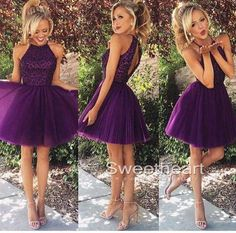 Purple sequin Tulle Short Prom Dress, Homecoming Dresses