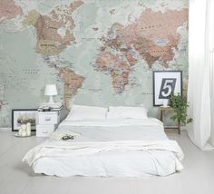 World Map wallpaper with amazing detail and colour. Looks great as a feature wall in a bedroom.Classic World Map wallpaper with amazing detail and colour. Looks great as a feature wall in a bedroom. World Map Mural, World Map Wallpaper, World Maps, World Map Bedroom, Travel Bedroom, World Map Decor, Bedroom Murals, Bedroom Decor, Home And Deco