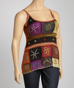 Love this Black & Red Abstract Embroidered Tank - Plus by Rising International on #zulily! #zulilyfinds