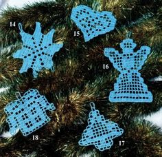Various decorations for tree crochet patterns free