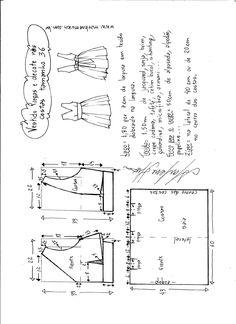 Esquema de modelagem de vestido com pregas e decote nas costas tamanho 36.