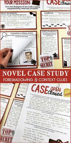 Character analysis investigation | Foreshadowing | Context Clues | Textual evidence | Novel investigation | Grades 5-10