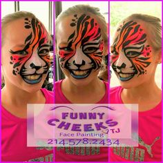 Neon Tiger face painting by Funny Cheeks Dallas  at the Kimbell Art Museum in Ft Worth by Funny Cheeks Dallas.