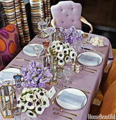 Who knew a pastel could be so bold? Liz O'Brien sets a romantic table on a field of soft purple.
