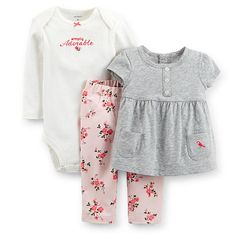 """Carter's Girls 3 Piece """"Adorable"""" Long Sleeve Pointelle Bodysuit, Grey Cap Sleeve Tunic, and Floral Twill Legging Set - Carters - Babies """"R"""" Us"""
