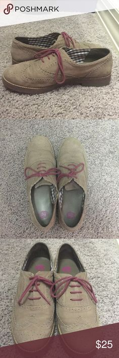 BP. Nubuck Leather Oxfords Nordstrom BP. size 9.5 nubuck leather oxfords in mushroom grey/brown color. Worn twice, fit more like size 9. Very good condition. Brass Plum Shoes Flats & Loafers